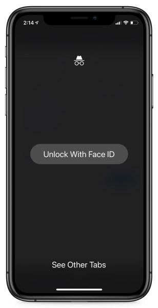 Chrome Incognito tabs locked behind Face ID