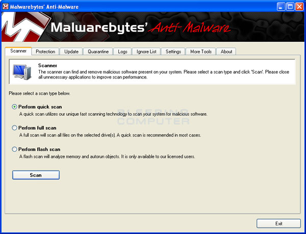 MalwareBytes Anti-Malware Screen