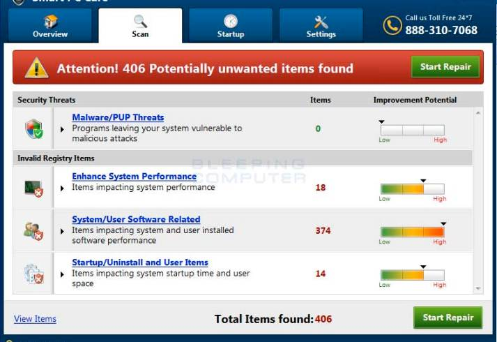 scan-results Remove the Smart PC Care PUP