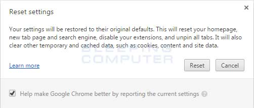 Reset Chrome Confirmation