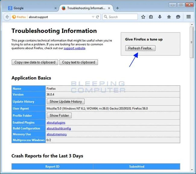 Troubleshooting Information Page