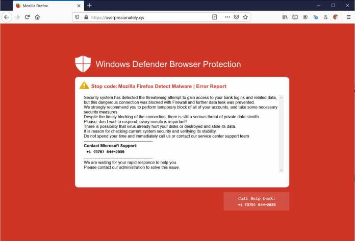 Traditional browser-based scam with tech support