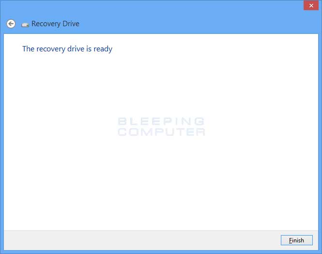 Finished creating recovery drive screen