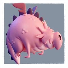 Cartoony pink dragon (concept: Dom Murphy)