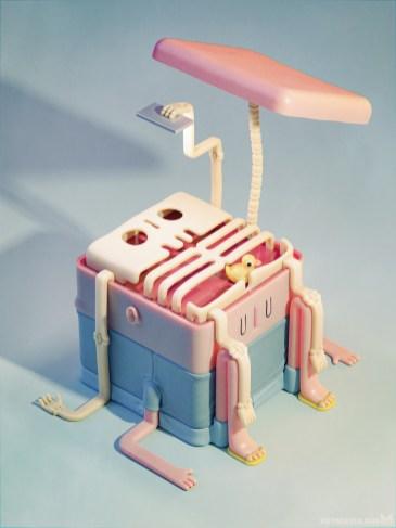 metin-seven_stylized-artistic-3d-illustrator_toy-designer-skeleton-selfie-surrealism