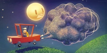 metin-seven_stylized-artistic-3d-illustrator_car-moon-pollution-exhaust-gas