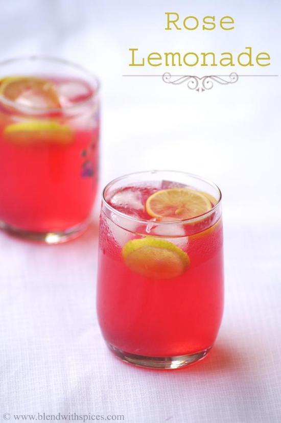 two glasses of rooh afza lemon sharbat
