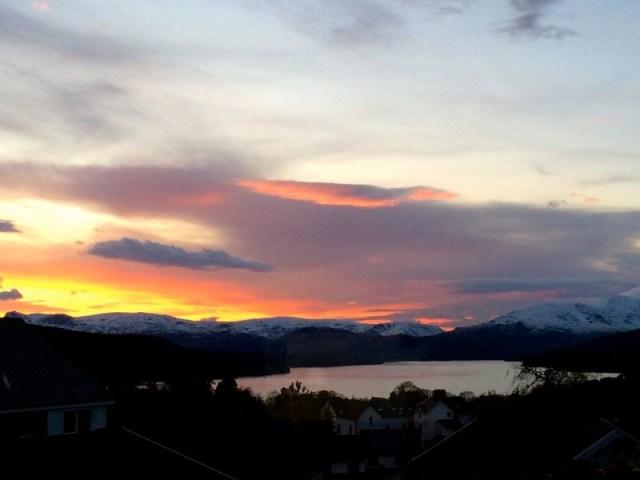 The setting sun yesterday seen from Blenheim Lodge B&B.