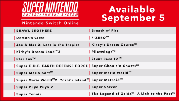Switch SNES Release Titles