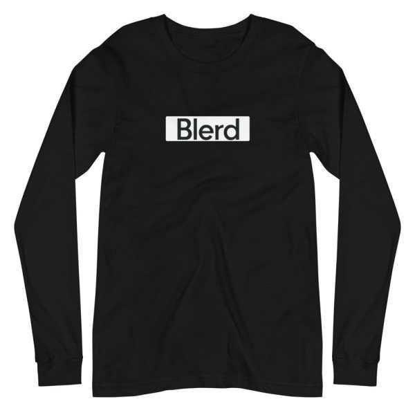 Blerd White box logo long sleeve tee Black