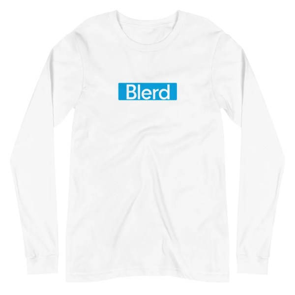 Blerd Blue box logo long sleeve tee