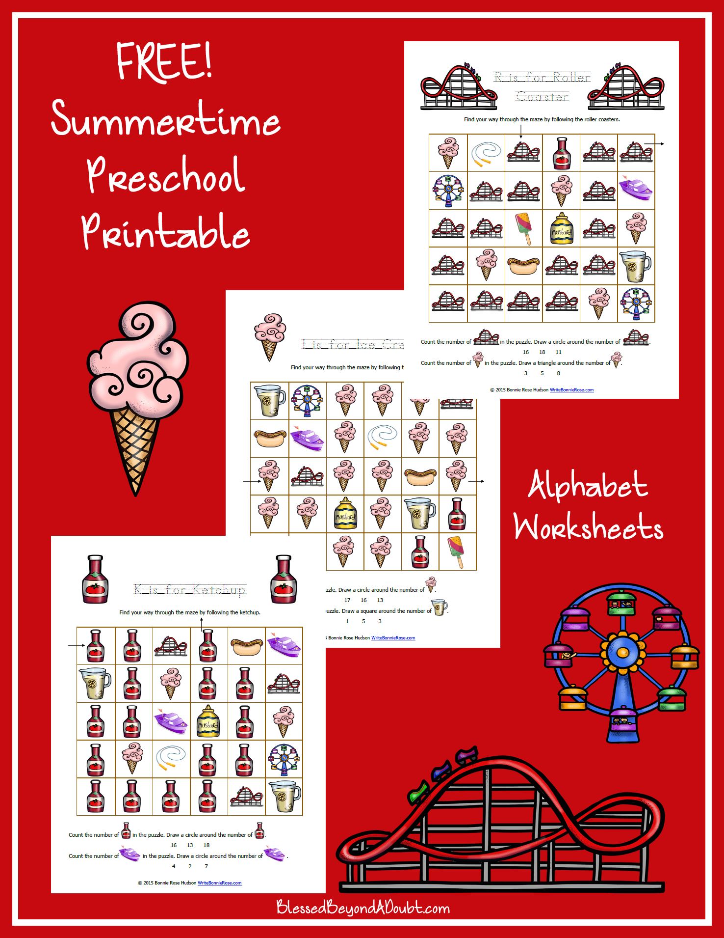 Summertime Printable Alphabet Worksheets For Preschool