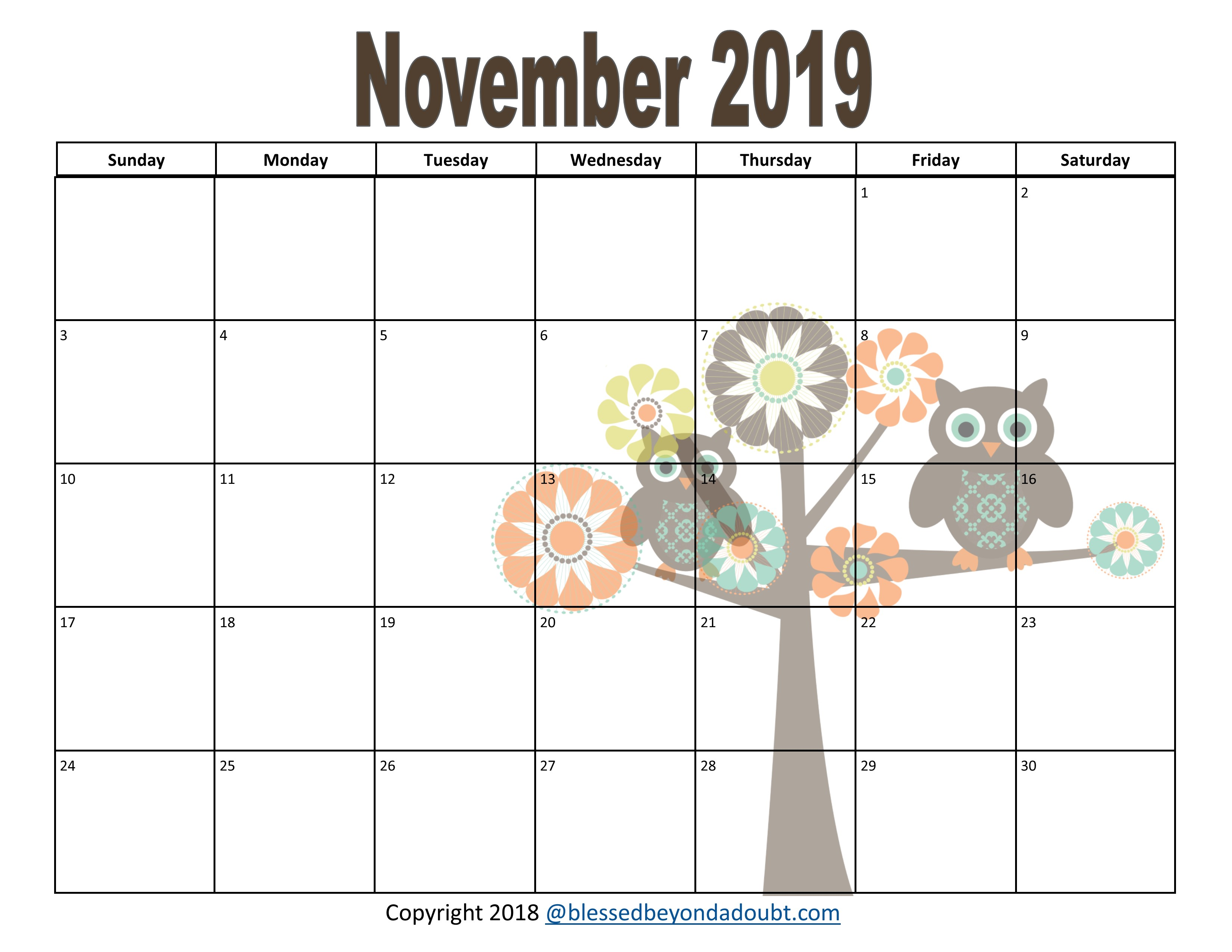 Free Monthly Printable Calendars