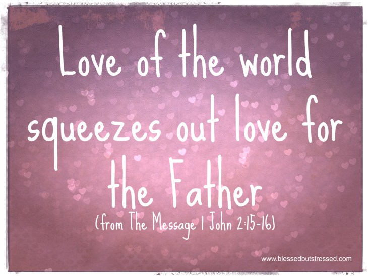 Love of the world squeezes out love for the Father. http://wp.me/p2UZoK-GZ via @blestbutstrest #inspirememonday