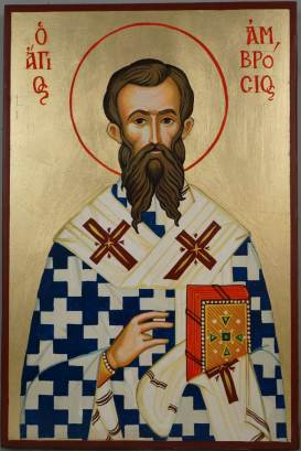 St Ambrose of Milan Hand-Painted Icon - BlessedMart
