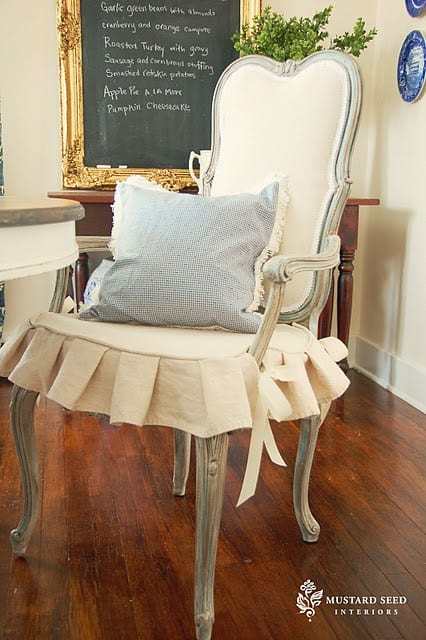 Upholstery for cane-back chair and good glaze color. Miss Mustard Seed - Nice website.