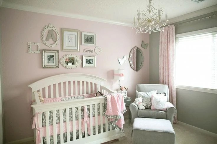 Love the pink and gray color combination for a little girls room. JUST PAINT ONE WALL OF THE NURSERY AN ACCENT COLOR SO WHEN THE NEXT BABY COMES AROUND A DIFFERENT GENDER YOU ONLY HAVE TO PAINT ONE WALL