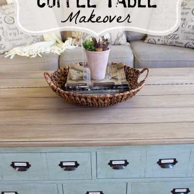 Faux Planked Coffee Table Makeover- Card Catalog Style
