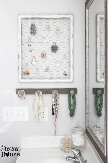 DIY Rustic Industrial Jewelry Wall Organizer
