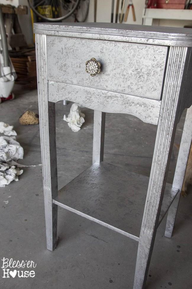 Aged Metallic Decoupaged Nightstand (9 of 11)