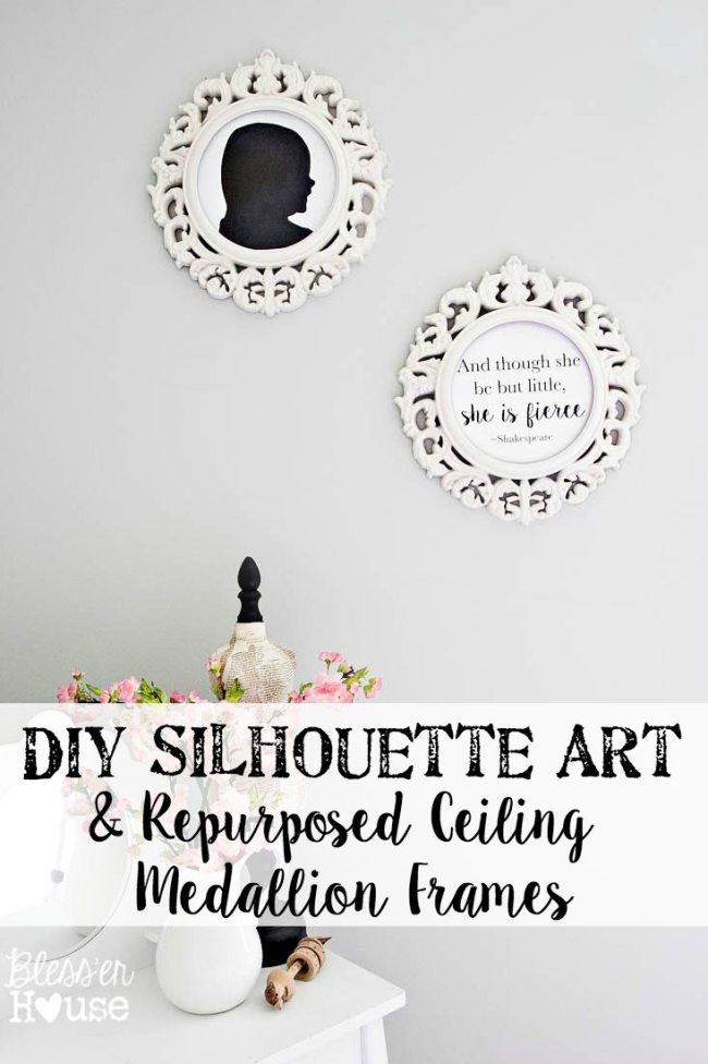 DIY Silhouette Art and Repurposed Ceiling Medallion Frames (+ Free Printable) | Bless'er House