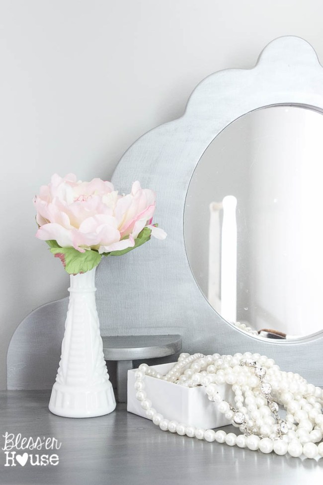 Gilded Silver Child's Vanity Makeover | Bless'er House - This finish is so beautiful!