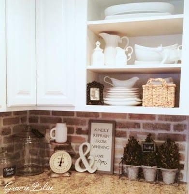 DIY Whitewashed Faux Brick Backsplash Blesser House