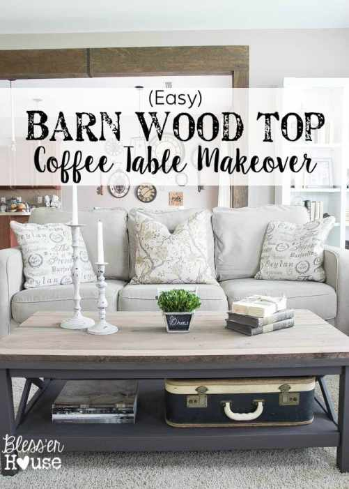 Barn Wood Top Coffee Table Makeover