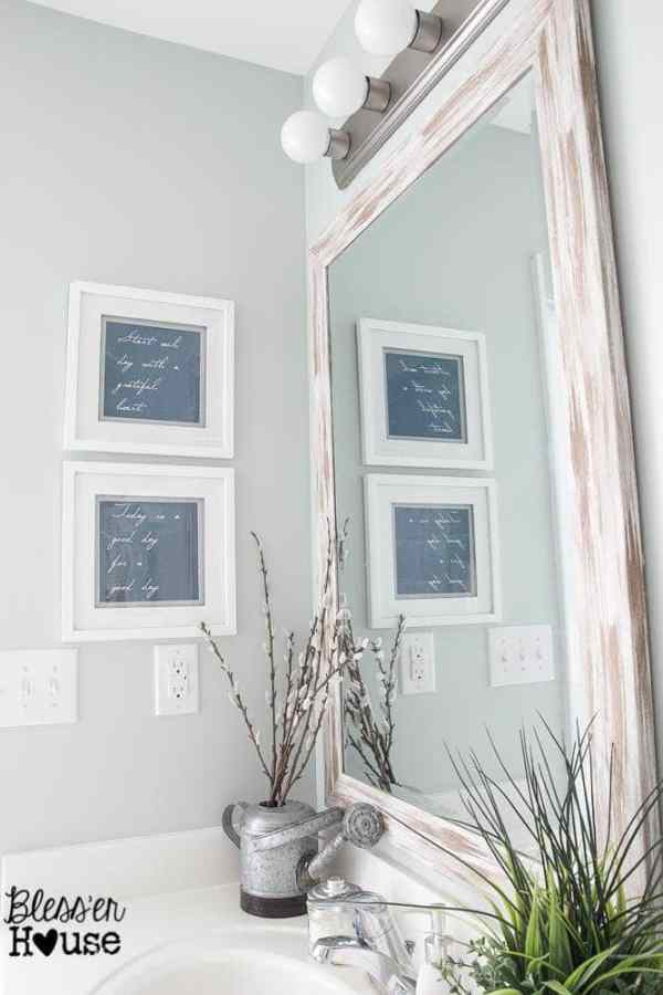 The Cheapest Resource for Bathroom Mirrors (and Bathroom Makeover Progress) | Bless'er House - That big farmhouse mirror was only $24!