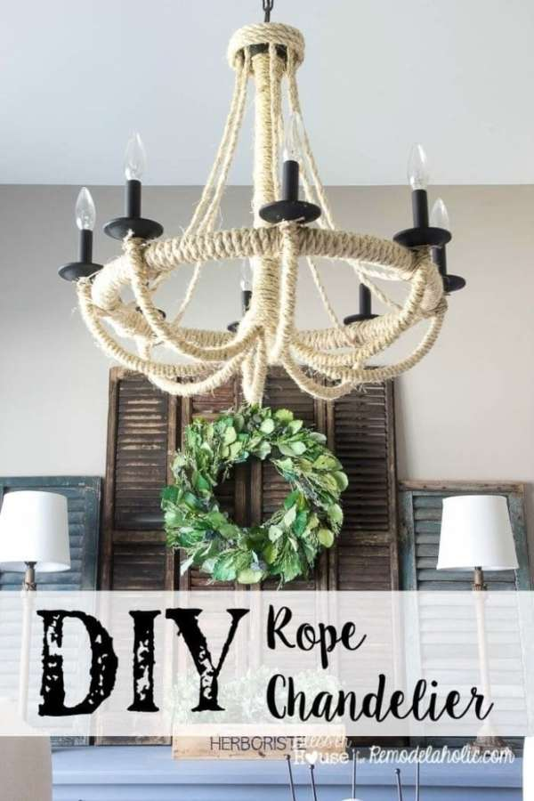 Give a basic light fixture an update with some inexpensive and unconventional materials! This DIY rope chandelier is easy and looks great.
