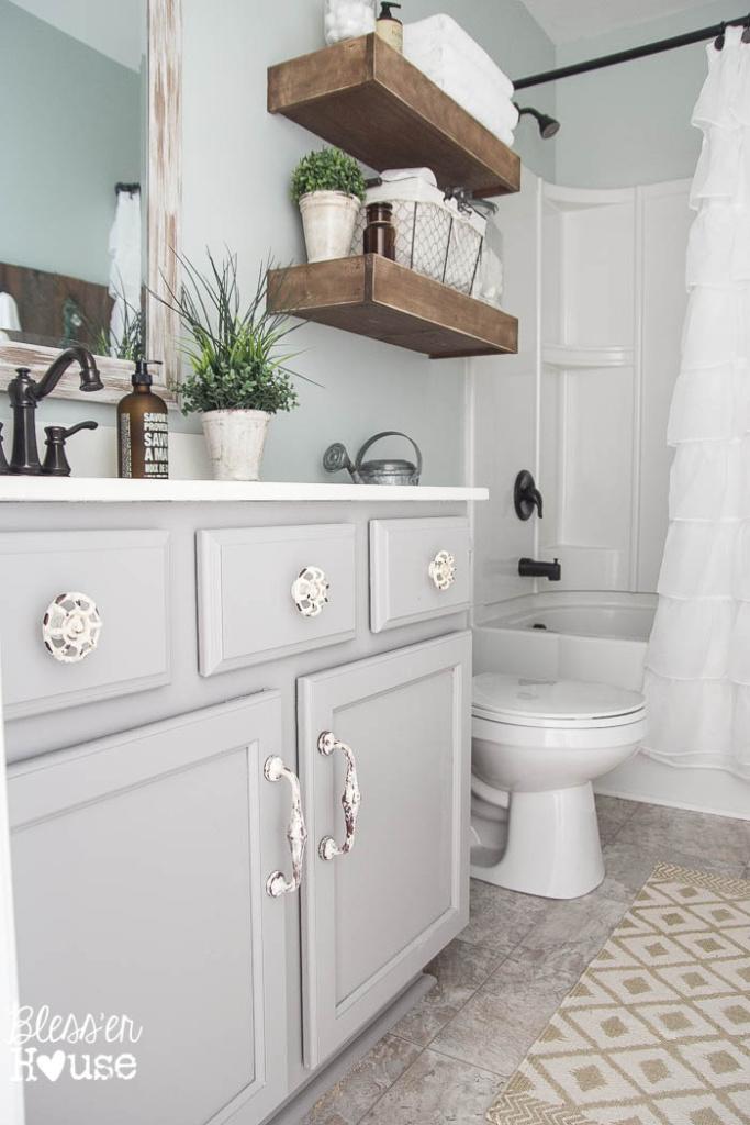 Modern Farmhouse Bathroom Makeover Reveal on Farmhouse Shower Ideas  id=22636