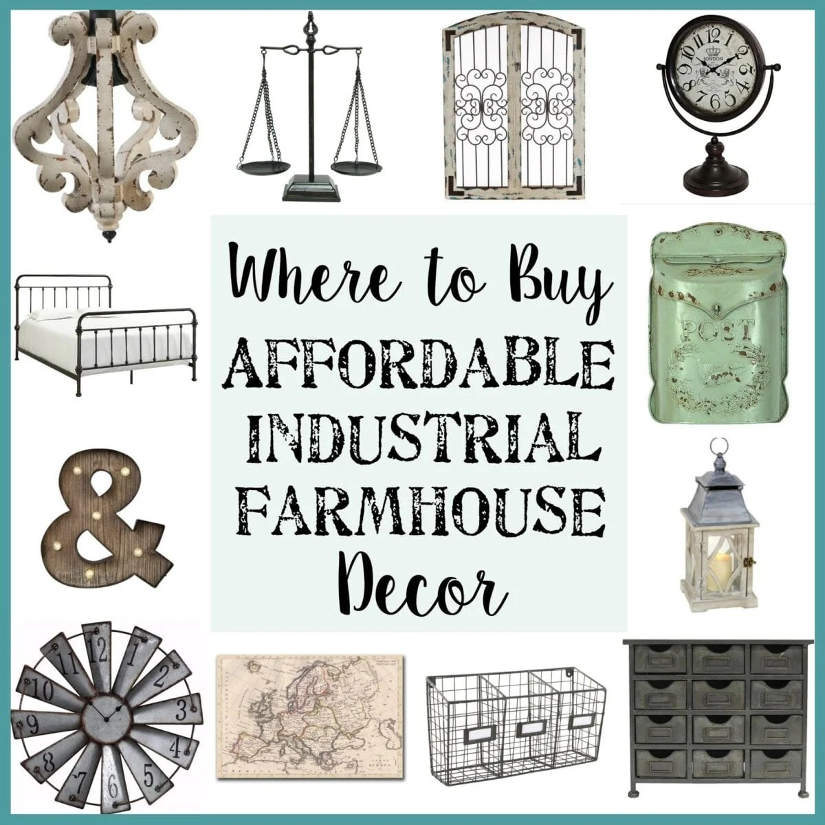 Where to Buy Affordable Industrial Farmhouse Decor   Bless'er House