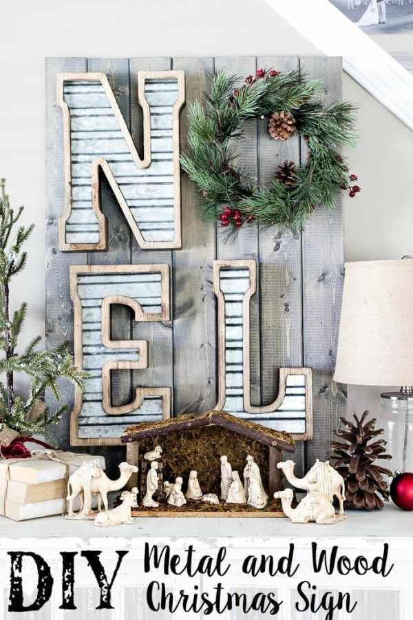 DIY Metal and Wood Christmas Sign | blesserhouse.com