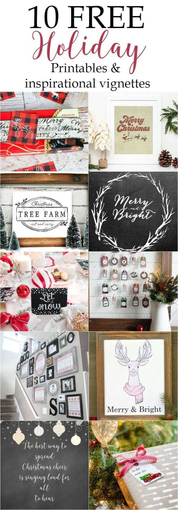 10 free holiday printables and inspirational vignettes