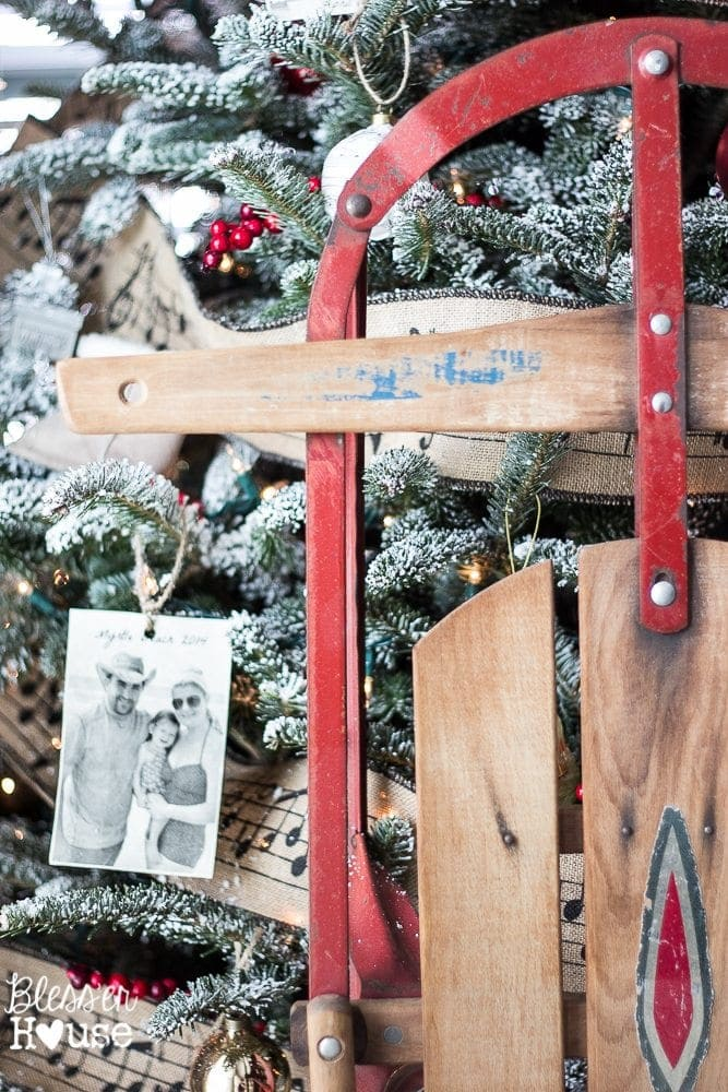 Thrifty Christmas decorating idea: display family heirloom winter gear
