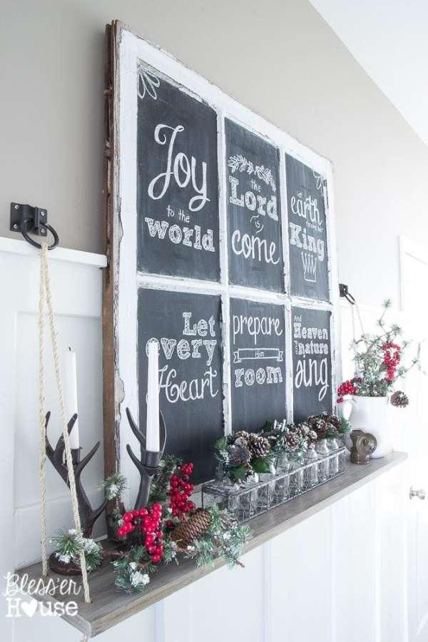 Christmas Home Tour 2015 Part 2 | blesserhouse.com | window chalkboard