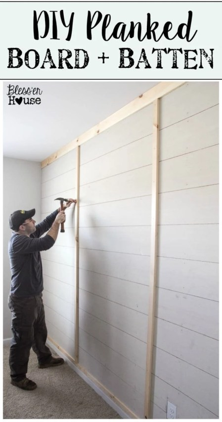DIY Planked Board and Batten Accent Wall Part 1 | blesserhouse.com
