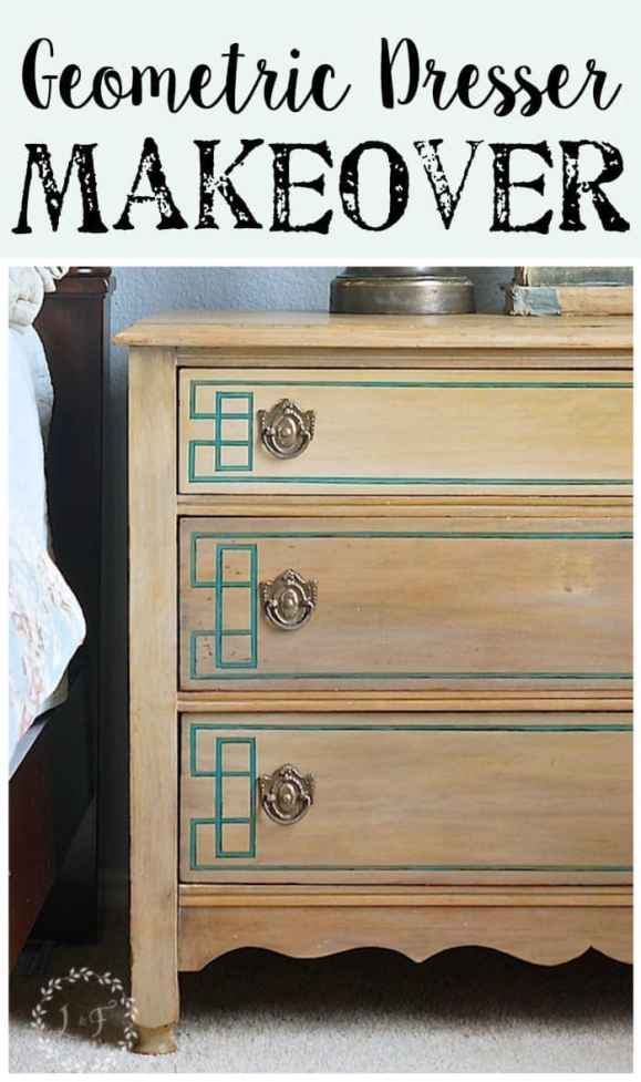Geometric Dresser Makeover | Lost and Found Decor for blesserhouse.com