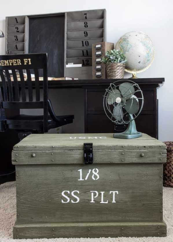 Vintage Military Foot Locker Makeover   blesserhouse.com