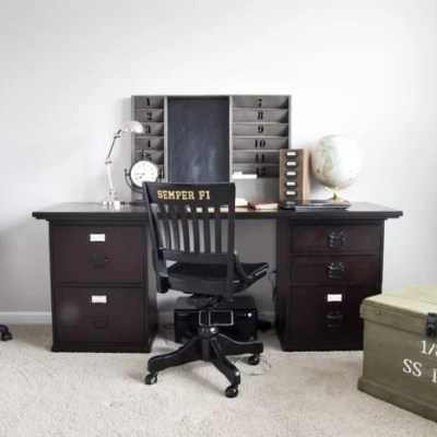 Masculine Restoration Hardware Inspired Office Makeover Plan