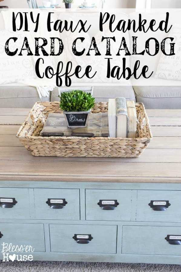 DIY Faux Planked Card Catalog Coffee Table | blesserhouse.com - Awesome way to organize DVDs! Add label pulls!