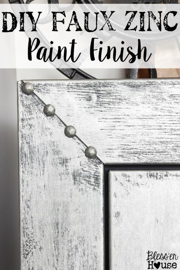 Faux Zinc Safe Makeover   blesserhouse.com - How to get a faux zinc finish using paint!