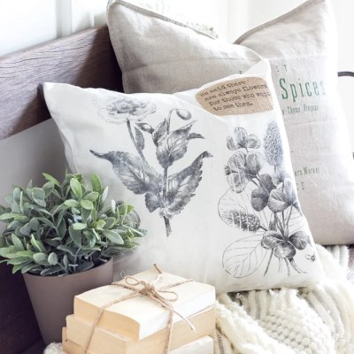 DIY Vintage Botanical Print Pillow