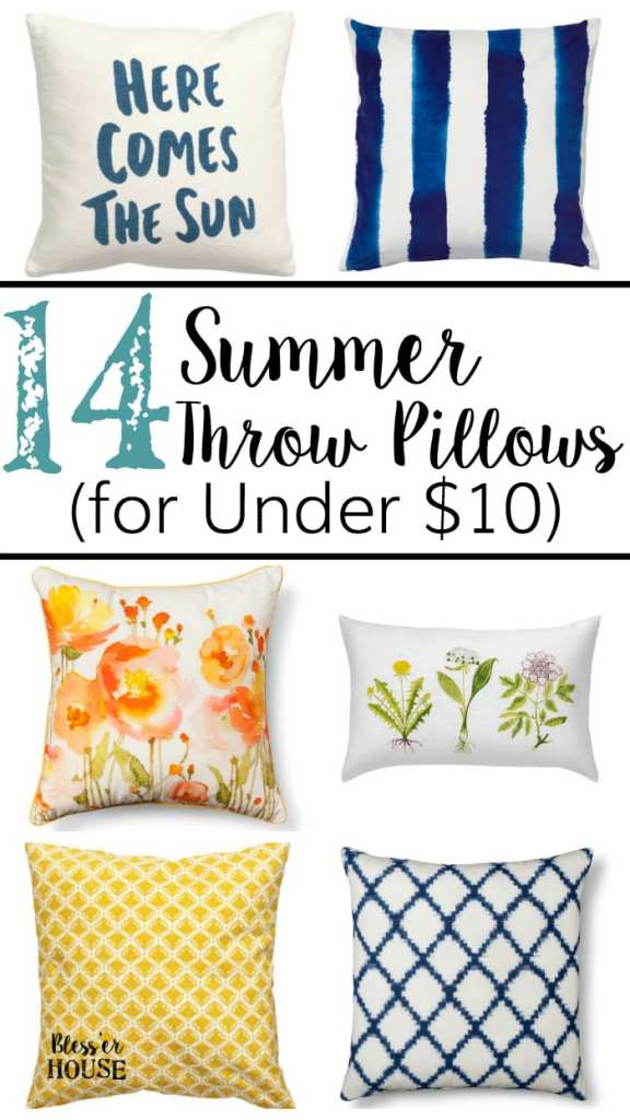 14 Summer Throw Pillows for Under $10 | blesserhouse.com - Where to buy affordable throw pillows for summer, how to add discounts, and how to save space on pillow storage between seasons