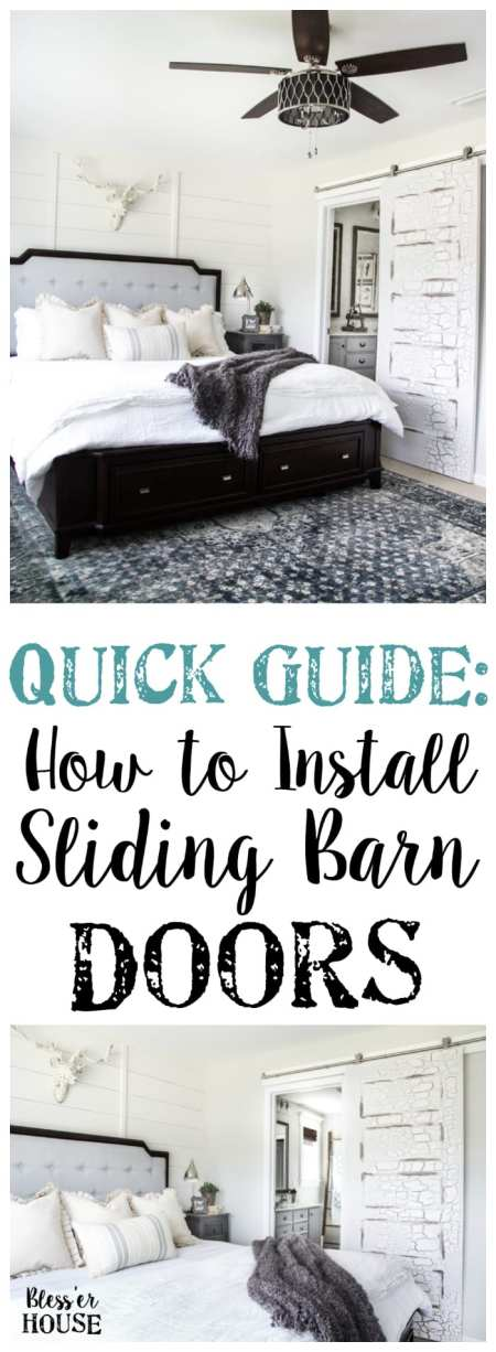 How to Install Sliding Barn Doors | blesserhouse.com - A quick tutorial to show how to install sliding barn doors in 5 easy steps using a door hardware kit from @NationalHardware. #sponsored