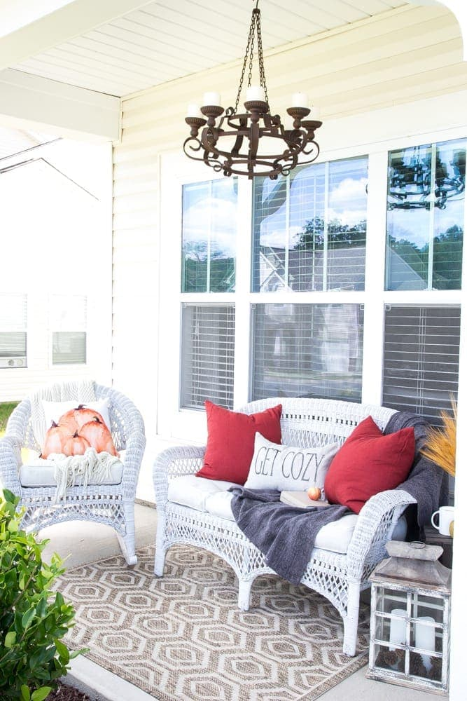 6 Tips for Decorating a Cozy Fall Porch | blesserhouse.com - Ideas and resources for adding rustic coziness and character to a boring builder grade porch.