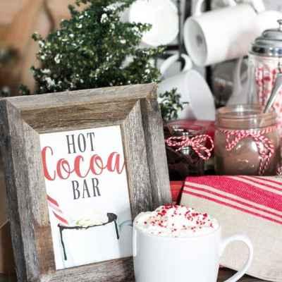 Soda Crate Hot Cocoa Bar & Free Printable Sign