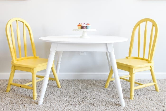 Sunny Yellow Play Table Makeover | blesserhouse.com - A damaged play table set gets a modern Pottery Barn Kids inspired makeover with a simple paint job.