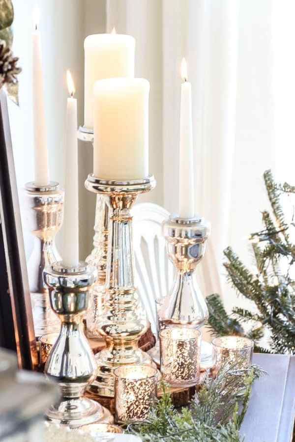 A shopping guide round-up with some of the best mercury glass decor pieces for a small budget, for Christmas decorating or any time of year. #shoppingguide #christmasdecor