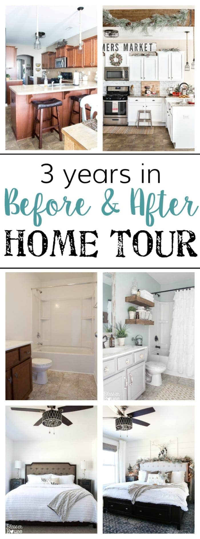 3 Year Blogiversary Before and After Home Tour | blesserhouse.com - A full home tour of a suburban tract cookie cutter house with before and after shots and DIY home improvement project inspirations on a budget.
